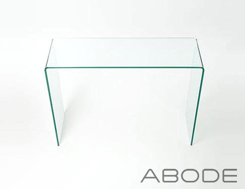 Large Glass Console Table - Curved Edge - Glass Furniture