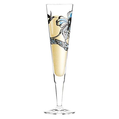 """RITZENHOFF 0,2 l'Olaf Hajek Pfau"""" Champus Flûte à Champagne en verre diamant blanc rond de serviette avec étiquette"""