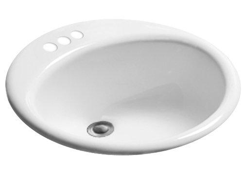 Black Black KOHLER K-2196-8N-7 Pennington Self-Rimming Bathroom Sink with 8 Centers and Sealed Overflow