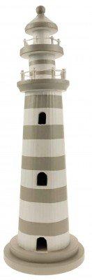 Lighthouse Decoration - Grey & White - 39cm