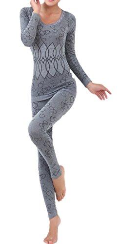 LANBAOSI Women's Lace Stretch Seamless Top & Bottom Thermal Underwear Set
