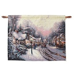 Thomas Kinkade Wall Hanging Tapestry - Village Christmas / Hometown Morning with Fiber Optics