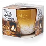 PACK OF 2 GLADE FRAGRANCED CANDLES IN DECORATED GLASS. HONEY AND CHOCOLATE FRAGRANCE. LIMITED EDITION CHRISTMAS/HOLIDAY/WINTER SEASON.