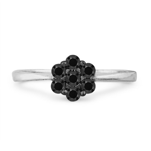 10KT White Gold Black Round Diamond Flower Fashion Ring (1/5 cttw)