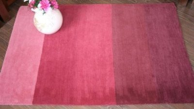Homescapes Graduated Stripes Rug - Wine - 3 ' x 5 ' - 100% Wool Hand Tufted