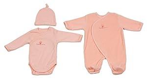 Eveil et Nature 8100-3 - Conjunto de pijama, body y gorro para bebé (0-3 meses), color rosa por Eveil et nature