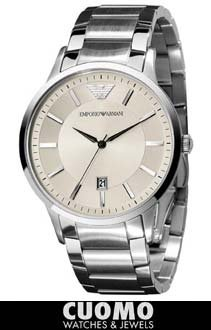 Emporio Armani orologio uomo acciaio crema AR2430