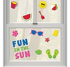 Summer Reusable Gel Cling Window Decorations Sun Beach Ball Flip Flops Watermelon 1 Sheet 23 Clings