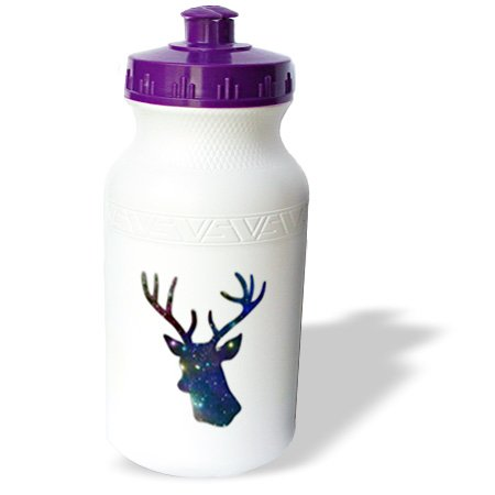 Wb_179698_1 Inspirationzstore Deer Designs - Deer Stag Head Silhouette Of Dark Blue Outer Space Stars Galaxy - Water Bottles