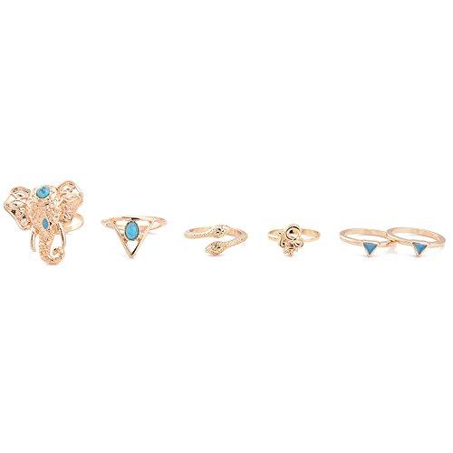 West See 6pcs Frauen Fingerring Silber Golden Ringe Nagelring Körperschmuck Nagel-Ring-Set (Golden)