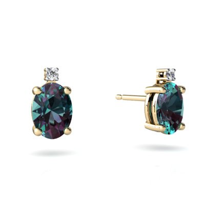 Created Alexandrite 14ct Yellow Gold Stud Earrings