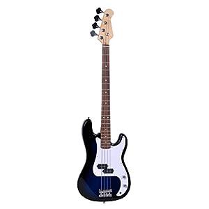 Polar Aurora NEW 4 Strings Full Size Blue Electric Bass Guitar Starter Kit+ Amp Cord+ Gigbag