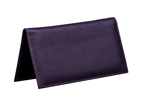 Dwellbee Leather Checkbook Cover with Register Holder and Carbon Copy Divider (Cowhide Leather, Violet) (This Register Closed compare prices)