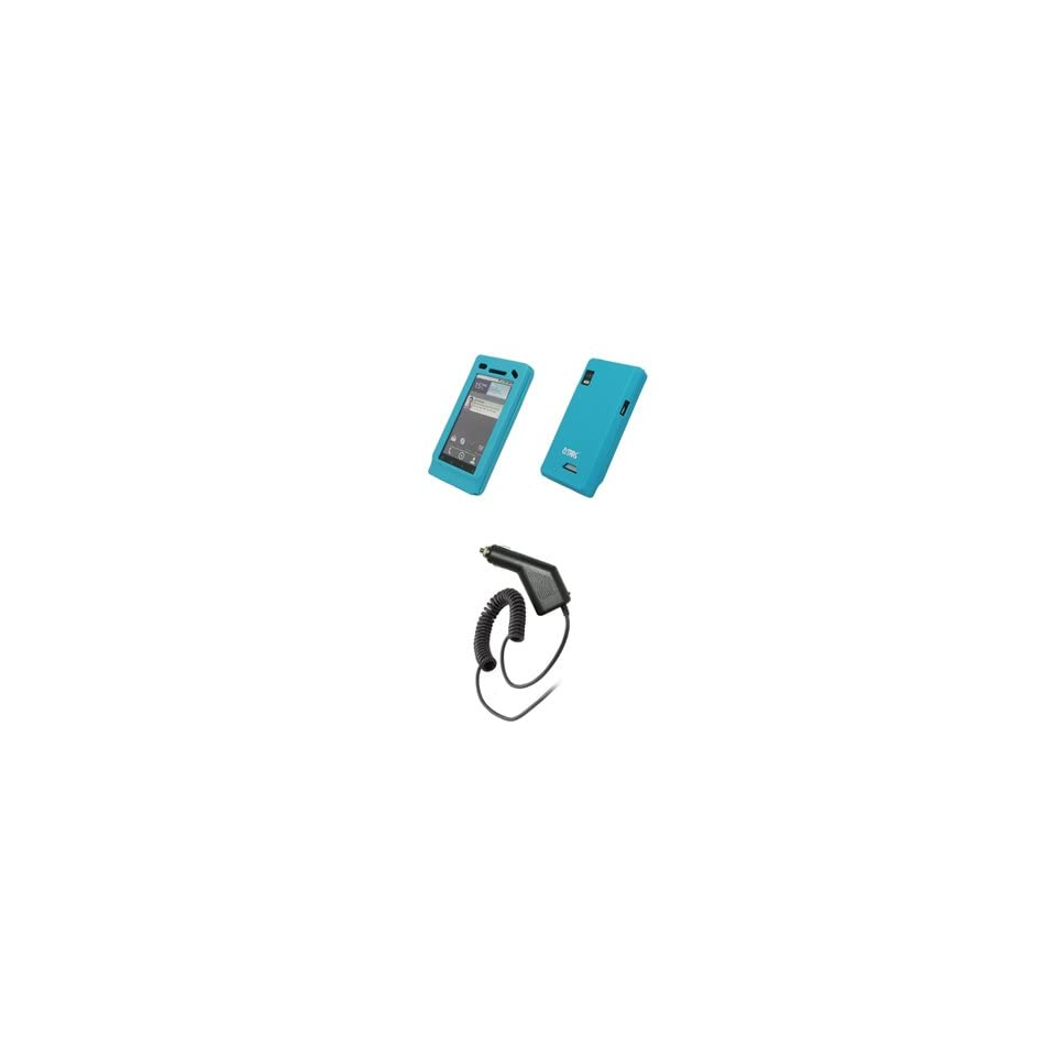 EMPIRE Light Blue Silicone Skin Cover Case + Car Charger (CLA) for Motorola Droid 2 A955