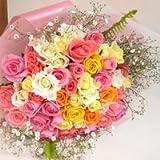 春色夢気分♪しあわせ色のバラのブーケ10本 バラの花束(生花) 【お祝い・記念日・誕生日・フラワーギフト・バラ】
