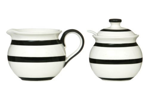 Premier Housewares Zuckerdose und Milchkännchen/Sahnekännchen, schwarz gestreift