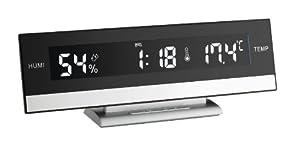 TFA 60.2011 reloj de repisa o sobre mesa - relojes de mesa (24,5 cm, 5 cm, 8,8 cm, LED, AAA) Negro, Plata de TFA