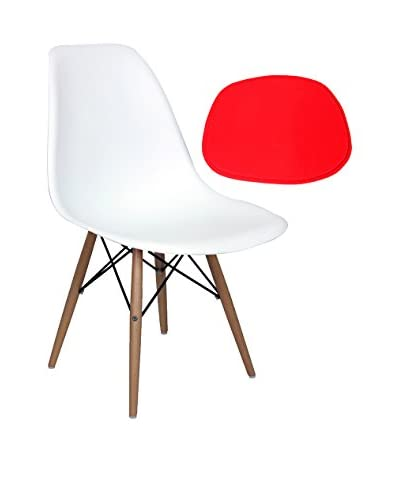 Stilnovo Eiffel Chair with Pad, White/Red