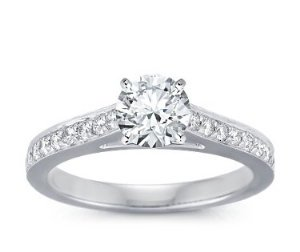 14 Carat White Gold Solitaire Diamond Ring 0.40 Carat TDW
