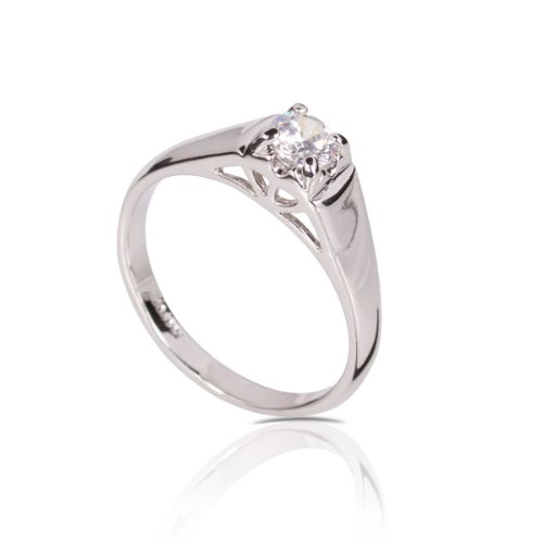 FASHION PLAZA White Gold Finish Engagement Ring with Diamond Cut Cubic Zirconia (Available In Sizes K N P R) R331-K