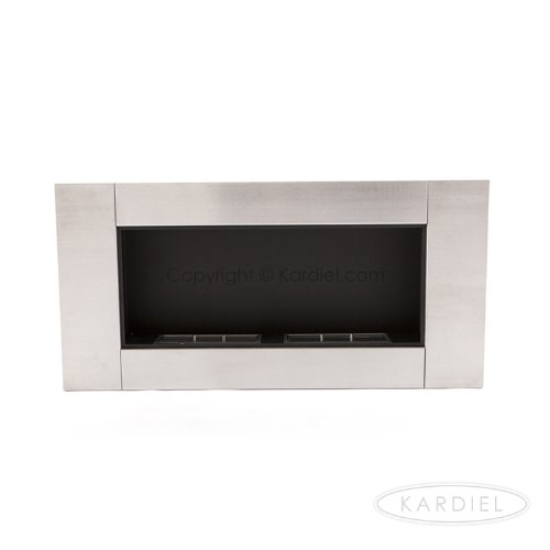 "Ecopyro Helis Alpine Xl Wall Inserted Ethanol Fireplace 43.25"", Stainless Steel/Chimney Black"