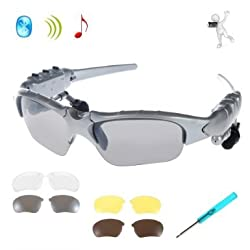 Wireless Bluetooth Sunglasses Glasses Lafeina Music Handsfree Headset Headphones Sunglasses Bluetooth Headset Headphone for Smart Phone Pc Tablet Iphone 6/plus Samsung HTC Bluetooth Devices + 4 Pair Replacement Sunglassess Le