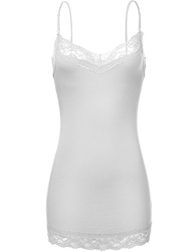Adjustable Spaghetti Strap Lace Trim Slim Fit Cami Tops (White Lace Tank compare prices)