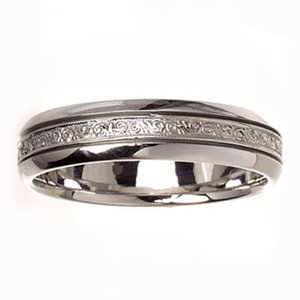 Women's 14k White Gold Engraved Satin Comfort Fit Wedding Band (6.00 mm)