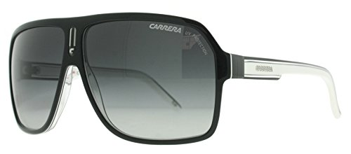 Carrera Champion/AC Aviator Sunglasses, Black Frame/Gray Mirror Gradient Silver Lens,62 mm