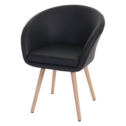 Esszimmerstuhl-Malm-T633-Stuhl-Lehnstuhl-Retro-50er-Jahre-Design-Kunstleder-schwarz