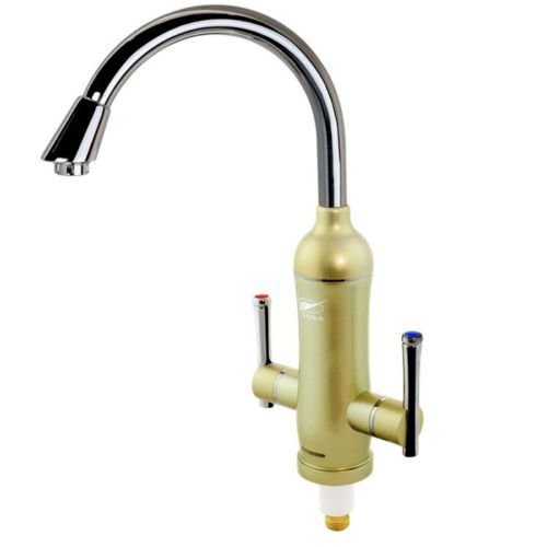Champagne New Sink Mounted 1S Hot Instant Electric Water Heater Cold&Hot Faucet Mixer Tap