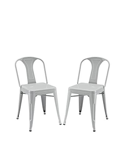 Modway Set of 2 Reception Dining Side Chairs, Grey