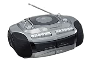 SOWA CDラジカセ ダブルカセット おけいこラジカセ 遅聞き・早聞き機能搭載 GW-7G シルバー