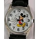 Disney Men's MCK809 Mickey Mouse Silver Case Black Strap Watch