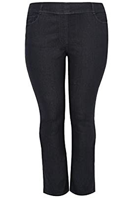 Yoursclothing Plus Size Womens Pull On Straight Leg Jeans