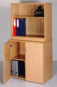 Low Oak Bookcase with Glass Sliding Doors