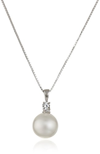 Sterling Silver Simulated Pearl and Cubic Zirconia Pendant Necklace, 18""