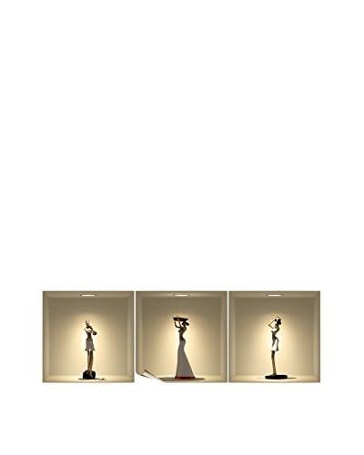 Ambiance Live Vinile Decorativo 3 pezzi 3D Effect African statues
