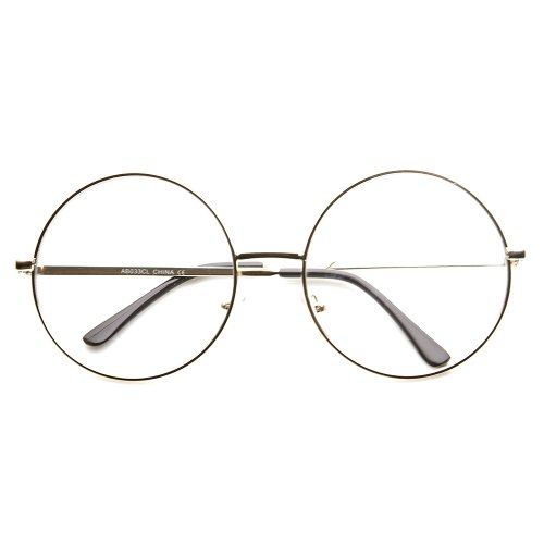 Large Frame Rx Glasses : Large Oversized Metal Frame Clear Lens Round Circle Eye ...