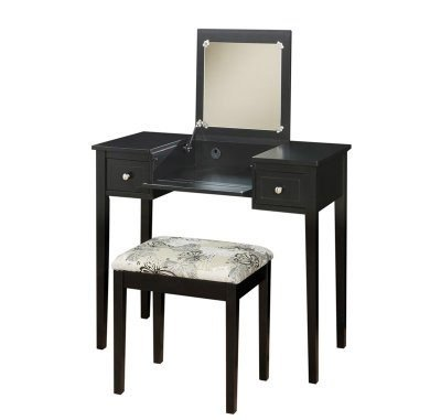 For Sale! Linon Home Decor Vanity Set with Butterfly Bench, Black
