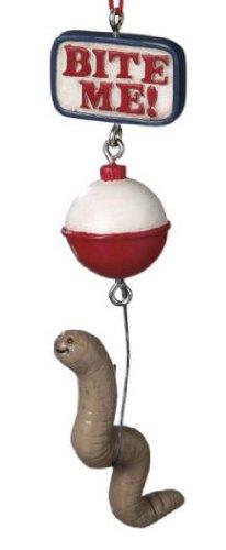 Bite Me Worm Bait Fishing Christmas Ornament
