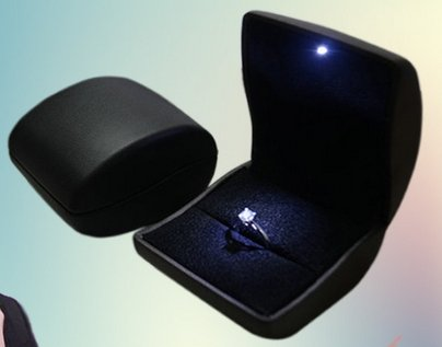 Black PU Leather with LED Jewelry Gift Box Case for engagement ring, Ring Earring Pendant & Outer box