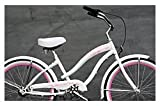 "Micargi Rover 24"" NX3 3-speed Women's Beach Cruiser Bikes - White/Pink, 24"" Wheel, Shimano Nexus 3 Derailleur System, Shimano Coaster (Pedal) Brake"