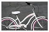 "Micargi Rover 24"" NX3 3-speed Women's Beach Cruiser Bikes - White/Pink, 24"" Wheel, Shimano Nexus 3 Derailleur System, Shimano Coaster (Pedal) Brake"