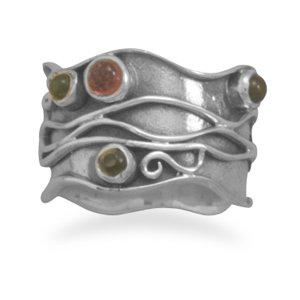 Sterling Silver Oxidized Multi Design and Tourmaline Ring / Size 7