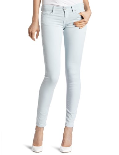 7 For All Mankind Women's Foil Floral Skinny Jean, Light Aqua/Silver, 29