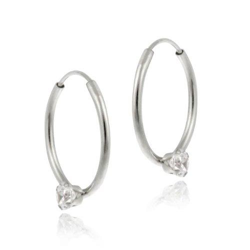 Icz Stonez 10k White Gold Cubic Zirconia Endless Hoop Earrings