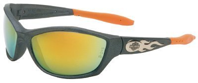 Harley-Davidson HD1003 Safety Glasses with Gunmetal Frame and Orange Mirror Tint Anti-Fog Hardcoat Lens
