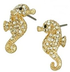 Small Adorable Sparkling Clear Crystal Seahorse Stud Earrings with Gold Plating