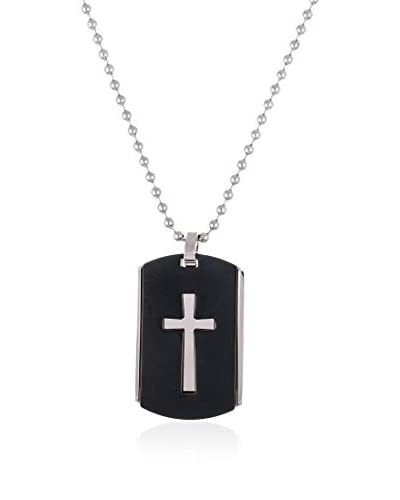 1913 Stainless Steel Black Dog Tag Necklace